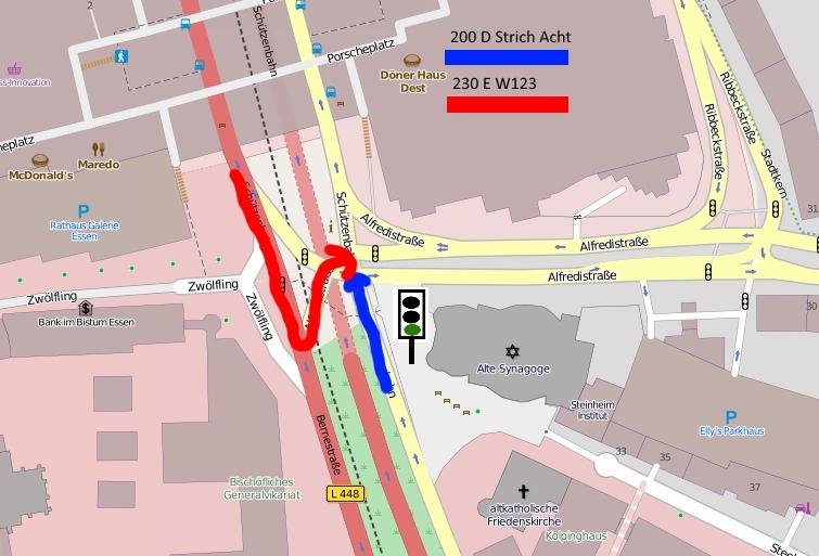 Unfallkreuzung Stadt Essen Schützenbahn / Alfredi Straße