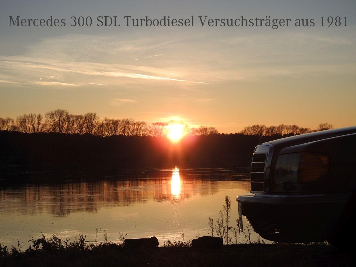 Mercedes 300 SDL Turbodiesel Versuchträger an der Elbe bei Sonnenuntergang