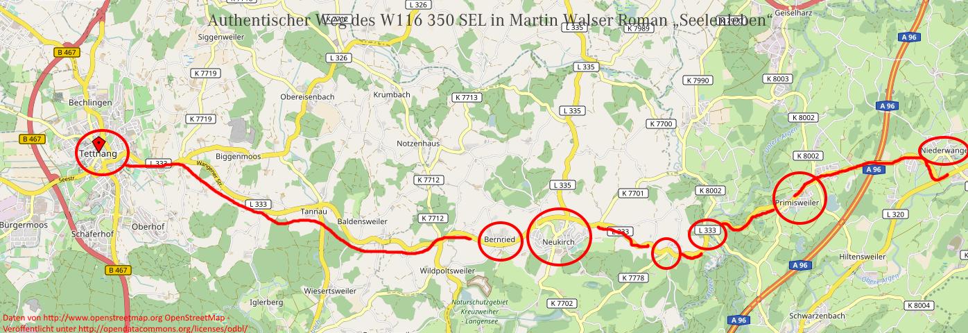 Kartendarstellung einer Fahrt Xaver Zürn im Roman Seelenabrbeit von Martin Walser