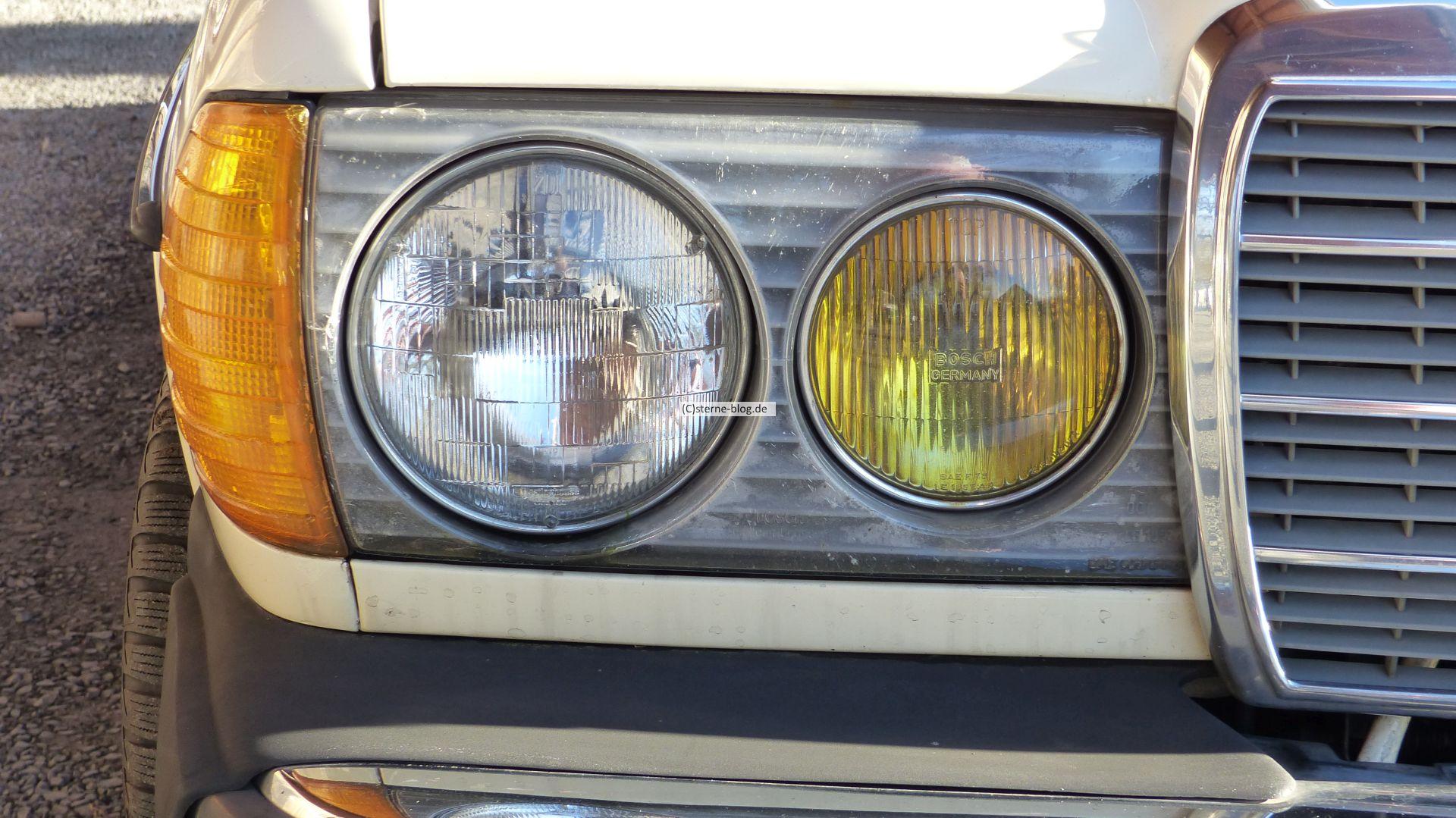Mercedes S123 300 TDT Turbodiesel mit den typischen US Scheinwerfen